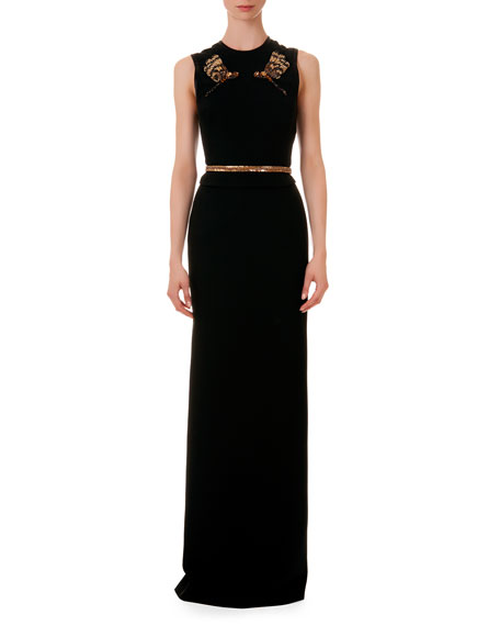 Jeweled Dragonfly/Belt Sleeveless Gown