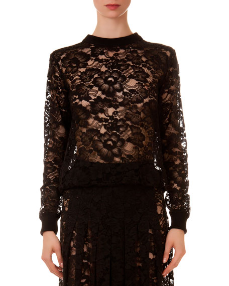 Givenchy Crewneck Sheer Lace Top
