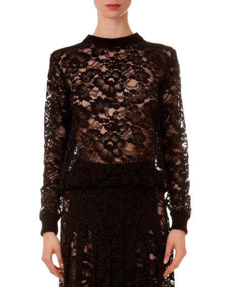Givenchy Crewneck Sheer Lace Top