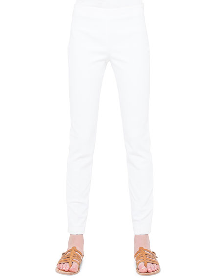 Akris Magda Flat-Front Slim-Fit Pants, Calcite