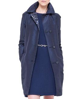 Chefchaouen-Print & Faille Reversible Jacket, Azurite