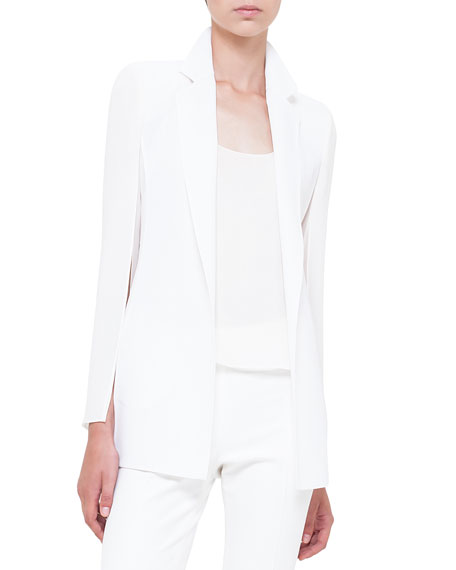 Akris Slit-Sleeve Double-Faced Jacket, Calcite