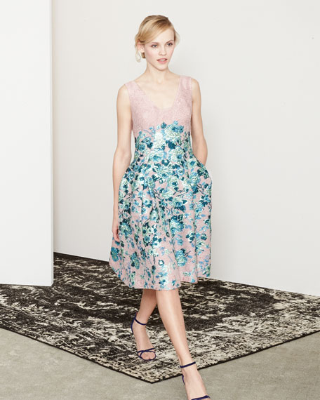 Lela Rose Floral-Jacquard A-Line Dress