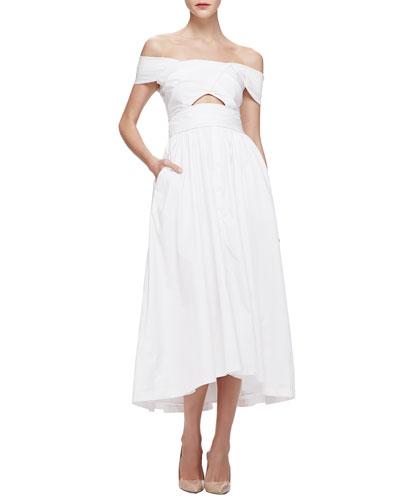 Lela Rose Off-The-Shoulder Cutout Dress