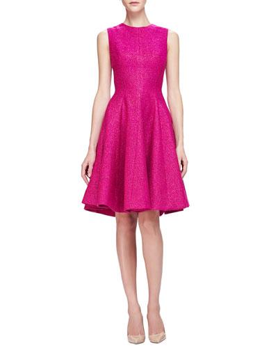 Lela Rose Sleeveless Shimmery Tweed Flared Dress