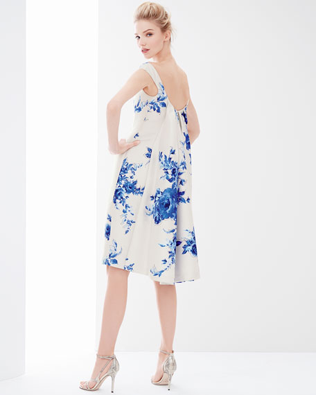 Lela Rose Off-The-Shoulder Floral-Print Watteau Dress