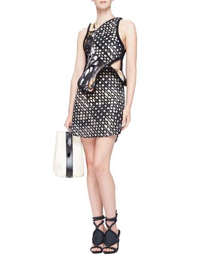 3.1 Phillip Lim Mesh-Print Structured-Overlay Dress