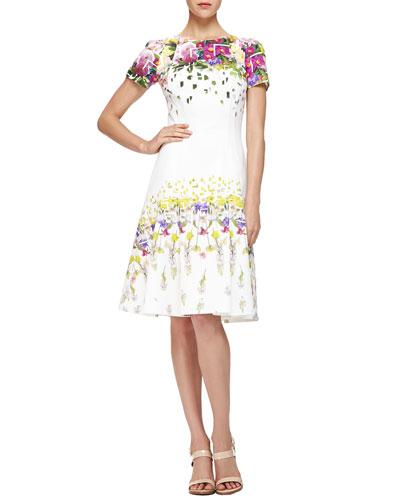 Carolina Herrera Confetti/Floral-Print Pique Dress