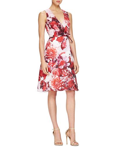 Carolina Herrera Floral-Print Tie-Waist Cocktail Dress