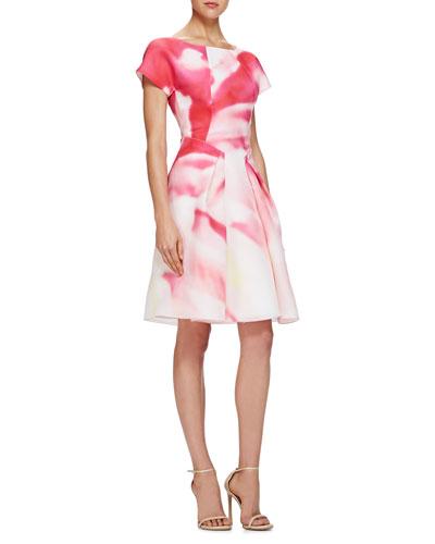Carolina Herrera Pleated Watercolor-Print Cocktail Dress