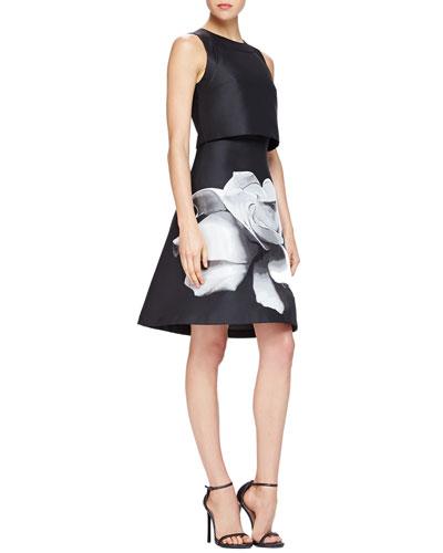 Carolina Herrera A-Line Dress w/ Attached Crop Top