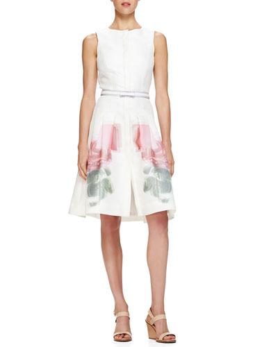 Carolina Herrera Sleeveless Pixelated-Rose-Print Dress