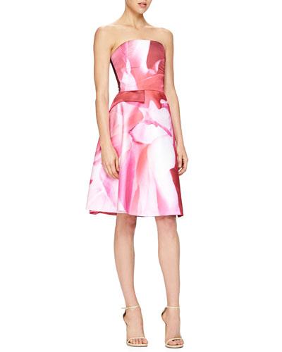 Carolina Herrera Peony-Print Strapless Cocktail Dress