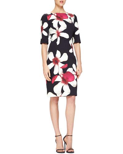 Carolina Herrera Magnolia-Print Jersey Sheath Dress