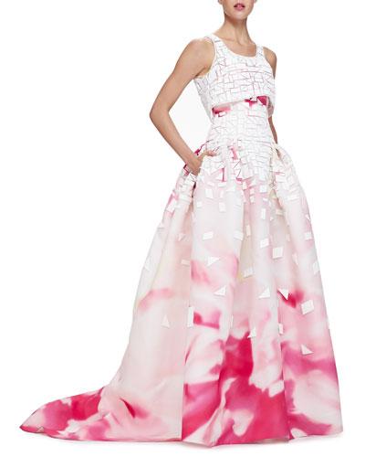 Carolina Herrera Painted Crop-Top Full-Skirt Gown