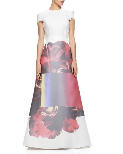 Carolina Herrera Printed-Skirt Ruffled Gazar Gown