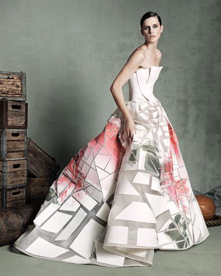 Broken-Applique Rose-Print Strapless Gown