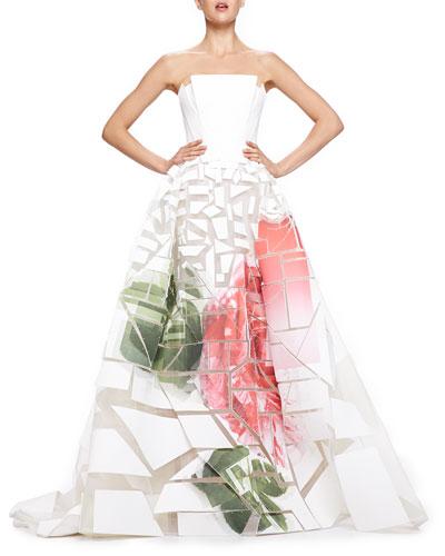 Carolina Herrera Broken-Applique Rose-Print Strapless Gown