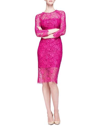 Lela Rose Long-Sleeve Lace Sheath Dress