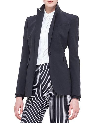 Perforated Leather-Collar Blazer, Noir