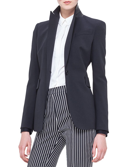 Akris punto Perforated Leather-Collar Blazer, Noir