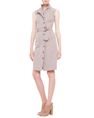 Akris punto Poplin Snap-Front Trench Dress, Corde