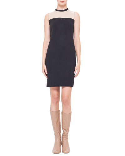 Akris punto Contrast Leather-Yoked Crepe Dress, Noir/Corde