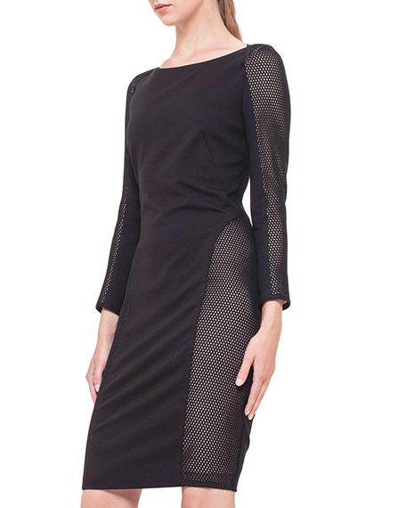 Mesh-Inset Jersey Dress, Noir