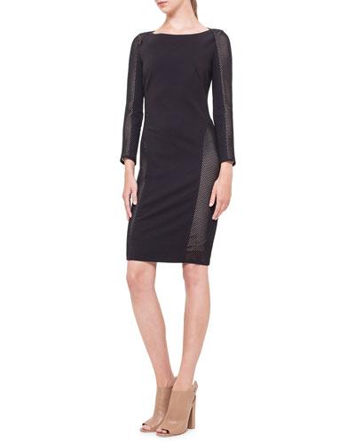 Akris punto Mesh-Inset Jersey Dress, Noir