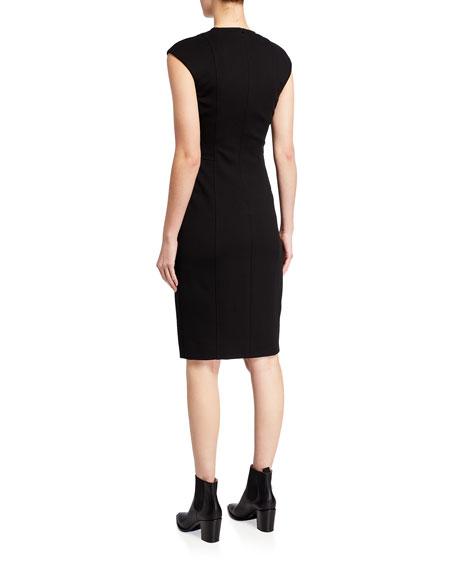 Cap-Sleeve Zip-Front Seamed Dress, Black
