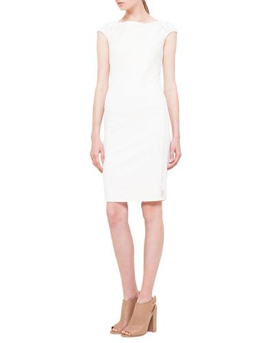 Akris punto Cap-Sleeve Mesh-Inset Jersey Dress, Creme