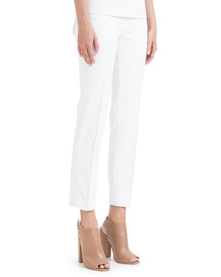 Akris punto Franca Square-Front-Pocket Ankle Pants, Ecru