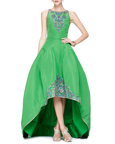 Oscar de la Renta Beaded Faille High-Low Ballgown, Clover Green