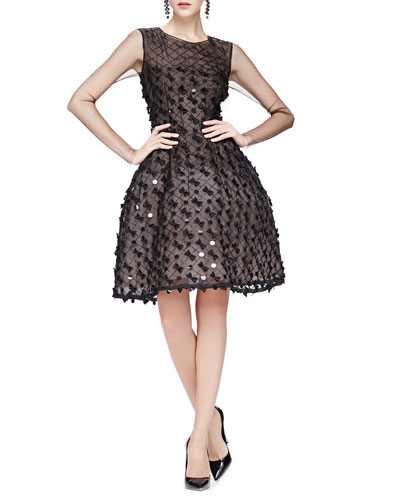 Oscar de la Renta Bow-Embellished Dress with Sheer Long Sleeves