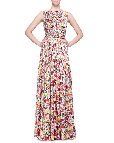 Oscar de la Renta Floral-Print Silk Gown, Red/Multi