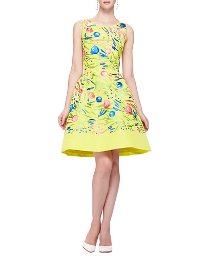 Oscar de la Renta Floral Embroidered Faille Dress, Citron