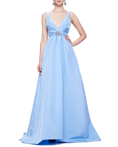 Oscar de la Renta Faille Ballgown with Thin Straps, Wedgewood Blue