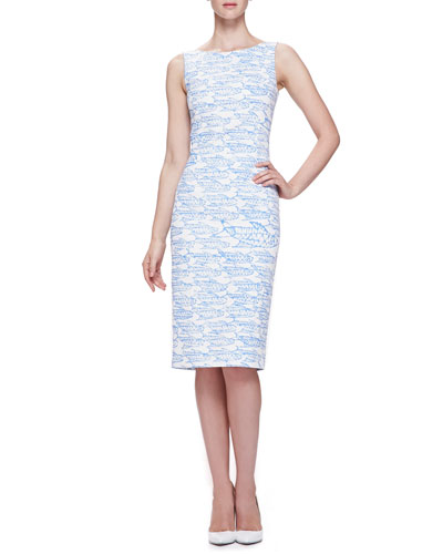 Oscar de la Renta Abstract Fish Printed Pencil Dress, Wedgewood Blue