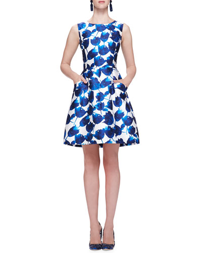 Oscar de la Renta Tulip-Print Dress with Pockets, Cobalt