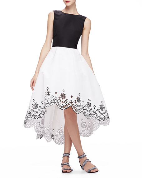 High-Low Dress with Laser-Cut Hem, Black/White
