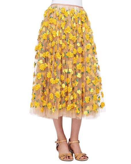 Marigold Embroidered Tulle Skirt, Suntan/Daffodil
