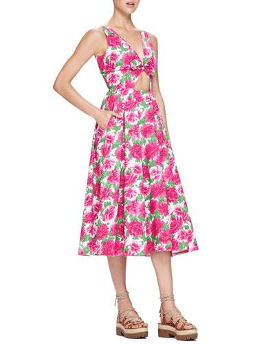 Michael Kors Peony-Print Front-Cutout Dress, White/Geranium Pink