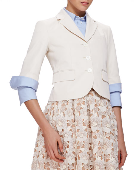 Michael Kors Half-Sleeve Cotton/Silk Blazer
