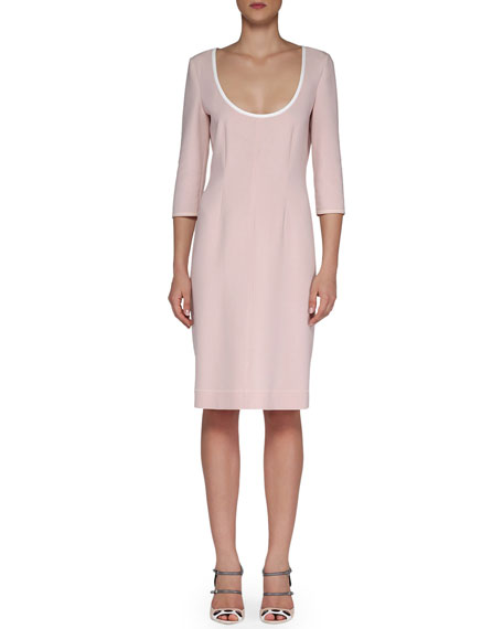 Fendi Scoop-Neck Contrast Fitted Dress