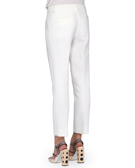 Cropped Straight-Leg Twill Pants