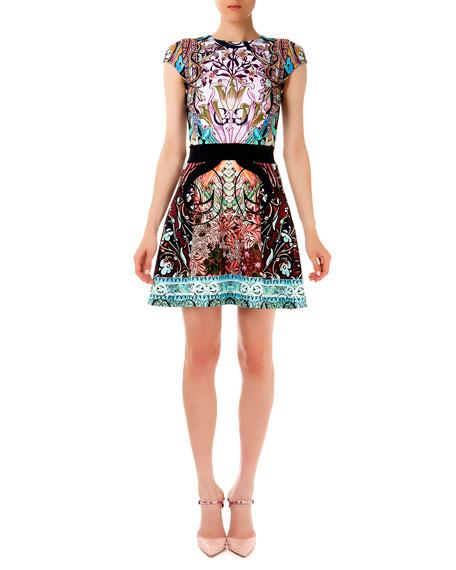 Sirene Falsa Liala Printed Ponte A-Line Dress