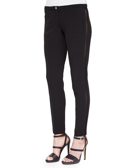 Versace Collection Mesh Side Stripe Slim Pants, Black