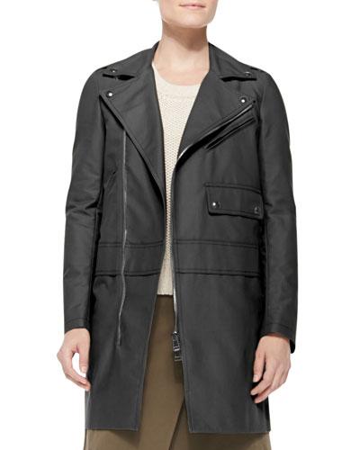 Asymmetric Zip Cotton Coat