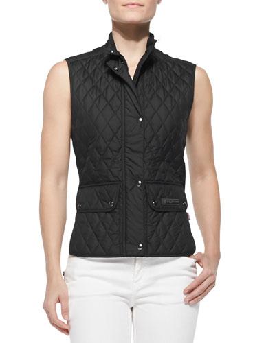 Lightweight Quilted Cutaway-Hem Vest, Black