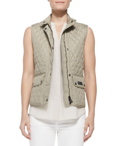 Lightweight Quilted Cutaway-Hem Vest, Beige